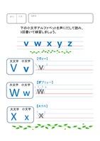 小文字アルファベットの読み書き練習 vからz