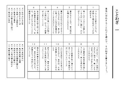 諺(ことわざ)のプリント